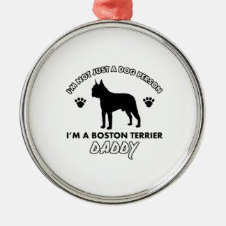 papá del perro del terrier de Boston Adorno Navideño Redondo De Metal