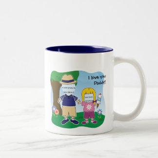 Papá del personalizable te amo taza de dos tonos