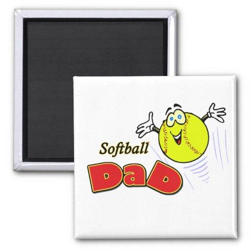 Papá del softball imán cuadrado