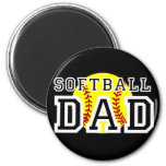 Papá del softball imán redondo 5 cm