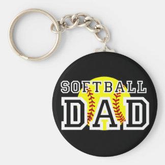 Papá del softball llaveros personalizados