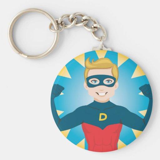 Papá del superhéroe llavero redondo tipo pin