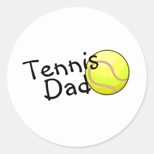 Papá del tenis pegatina redonda