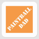 Papá divertido de Dadisms Paintball del padre Pegatinas Cuadradas