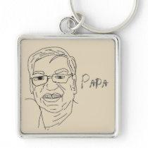 papa drawing cartoon keychain