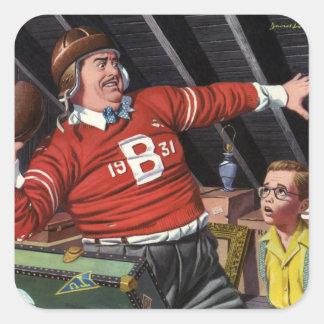 Papá e hijo del fútbol del vintage pegatina cuadrada