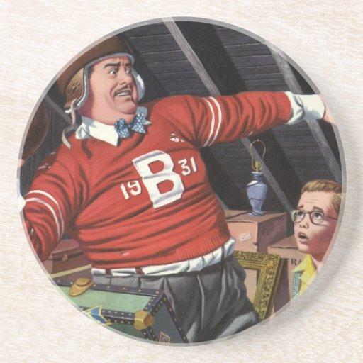 Papá e hijo del fútbol del vintage posavasos cerveza