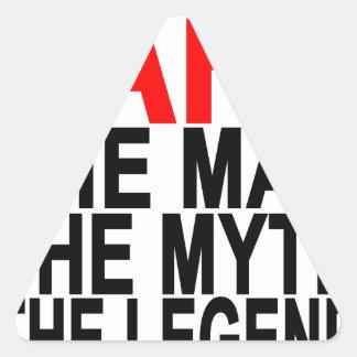 papá el mito el hombre la leyenda pegatina triangular