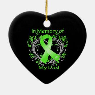 Papá - en corazón del linfoma de la memoria adorno navideño de cerámica en forma de corazón