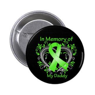 Papá - en corazón del linfoma de la memoria pin redondo de 2 pulgadas