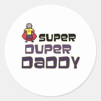 Papá estupendo de Duper Pegatina Redonda