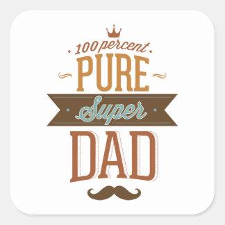 Papá estupendo puro del 100 por ciento pegatina cuadrada