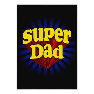 """Papá estupendo, super héroe rojo/amarillo/azul invitación 5"""" x 7"""""""