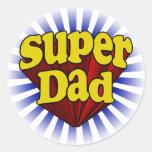 Papá estupendo, super héroe rojo/amarillo/azul pegatina redonda