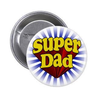 Papá estupendo, super héroe rojo/amarillo/azul pin redondo de 2 pulgadas