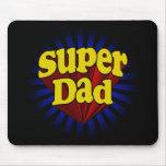 Papá estupendo, super héroe rojo/amarillo/azul alfombrillas de raton