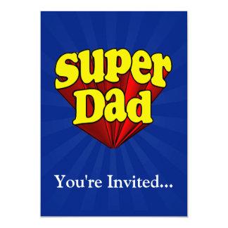 """Papá estupendo, super héroe rojo/amarillo/el día invitación 5"""" x 7"""""""
