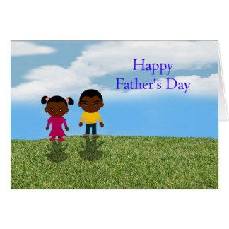 Papá feliz del día de padre con los niños tarjeta de felicitación