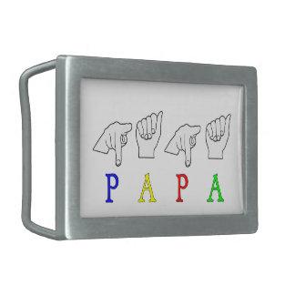 PAPA  FINGERSPELLED ASL NAME RECTANGULAR BELT BUCKLES