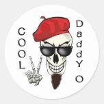 Papá fresco - cráneo del Beatnik de O Pegatina Redonda