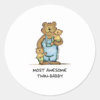 Papá gemelo impresionante pegatina redonda