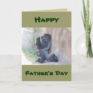 Papa Gorilla and Family, Happy Father's Day card