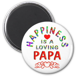 Papa Happiness 2 Inch Round Magnet