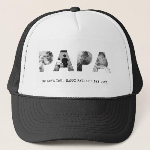 PAPA Happy Fathers Day Photo Trucker Hat
