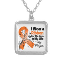 Papa Hero in My Life Leukemia Silver Plated Necklace