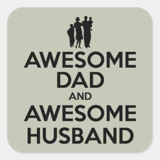 Papá impresionante y marido impresionante pegatina cuadrada