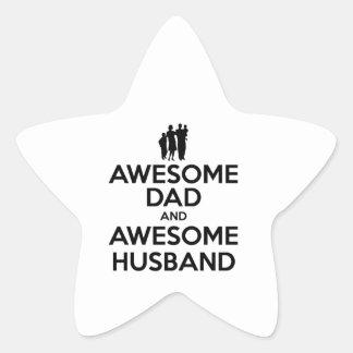 Papá impresionante y marido impresionante pegatina en forma de estrella
