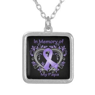 Papa - In Memory Heart Hodgkins Disease Square Pendant Necklace