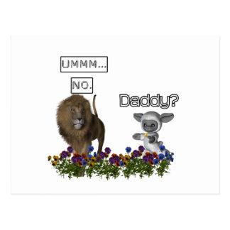 ¿Papá? invita a cordero lindo a un león grande Postales