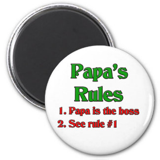 Papa Is The Boss 2 Inch Round Magnet