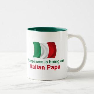 Papá italiana feliz taza de dos tonos