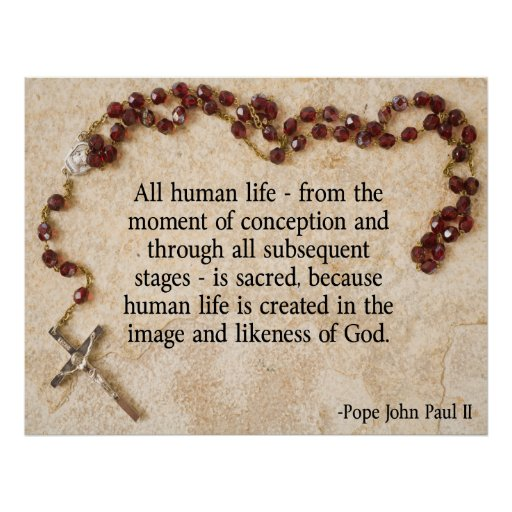 Papa John Paul antiabortista Póster