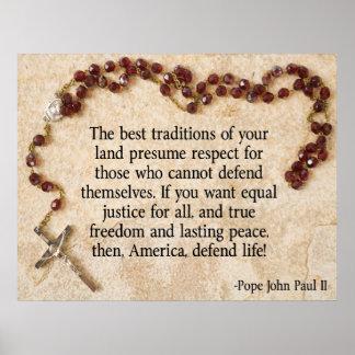 Papa John Paul defiende vida Póster