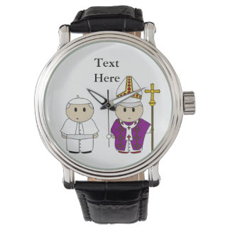 Papa lindo Gift Personalized del sacerdote Relojes