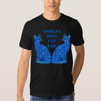 Papá loco abstracto azul del gato del individuo poleras
