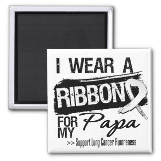Papa Lung Cancer Ribbon 2 Inch Square Magnet