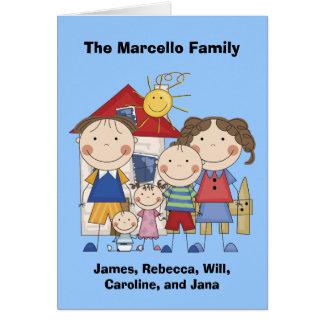 Papá, mamá, muchacho, chica, familia del bebé tarjeta de felicitación