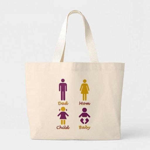 Papá, mamá, niño, bebé bolsas