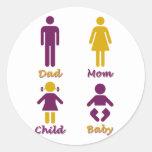 Papá, mamá, niño, bebé etiqueta redonda