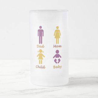 Papá, mamá, niño, bebé taza de cristal