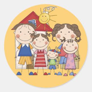 Papá, mamá, SIS grande, SIS medio, pequeño Brother Pegatina Redonda