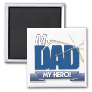 Papá mi héroe - regalos del día de padre de la div imán cuadrado