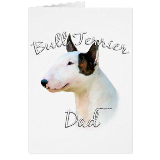 Papá miniatura 2 de bull terrier tarjeta de felicitación