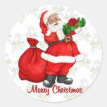 Papá Noel alegre Etiquetas Redondas
