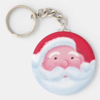 Papá Noel alegre Llavero Redondo Tipo Pin