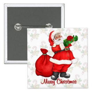 Papá Noel alegre Pin Cuadrado